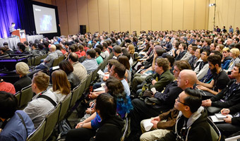 Audience listening to compelling, relevant, and timely content at Game Developers Conference.