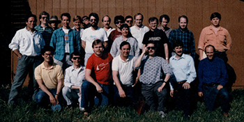 Picture of attendees at the first Game Developers Conference in April 1988